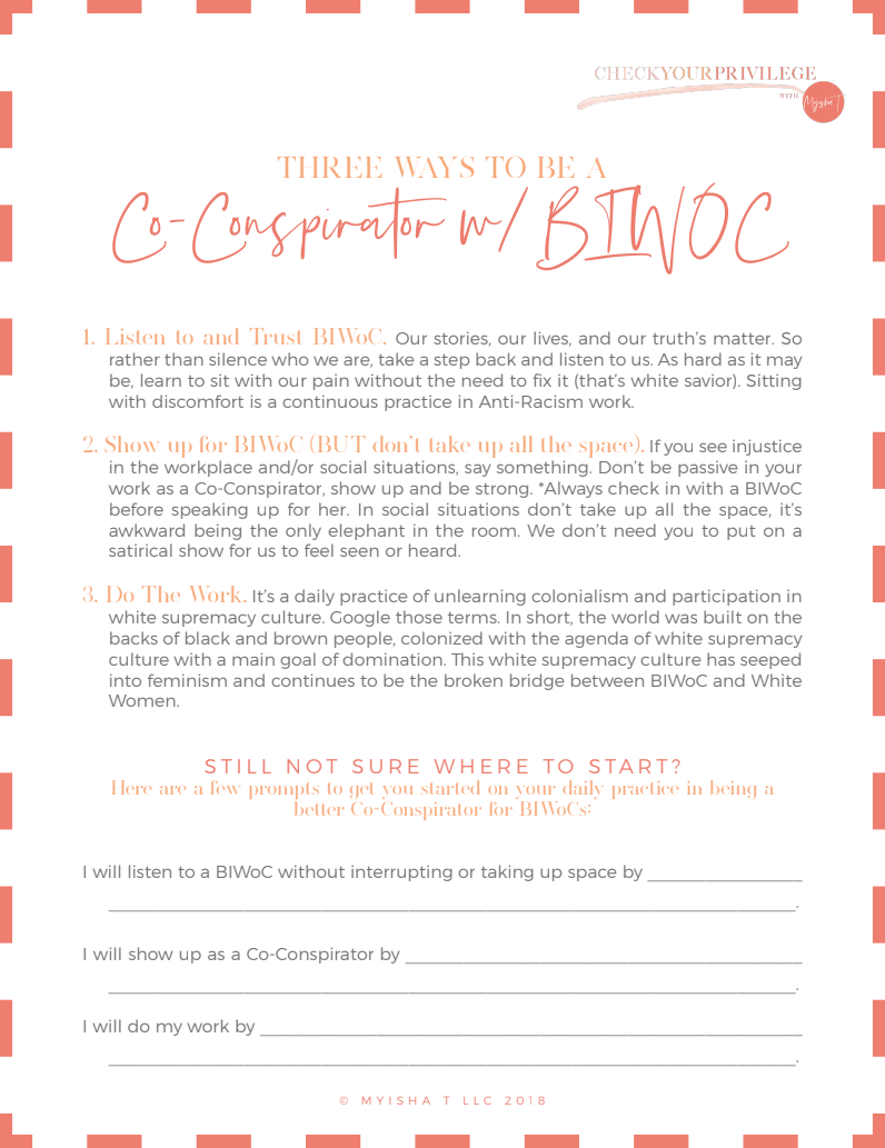 Three Ways to Be A Co-Conspirator with BIWOC